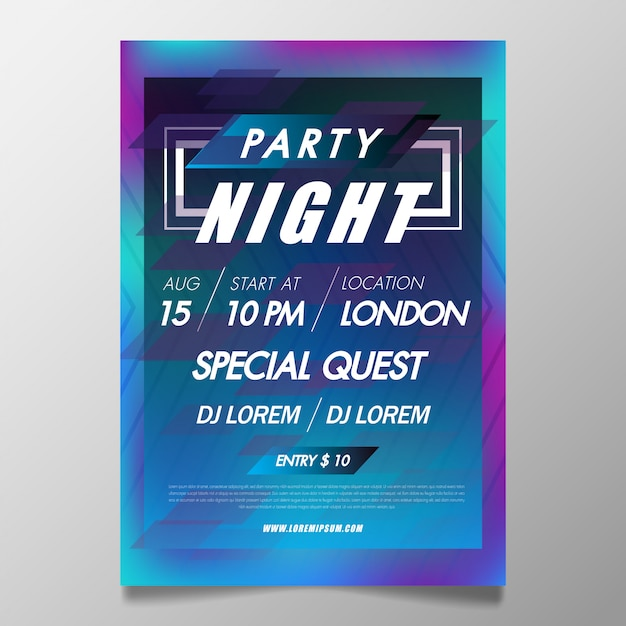 Music festival poster template night club party flyer with background from colorful Premium Vector