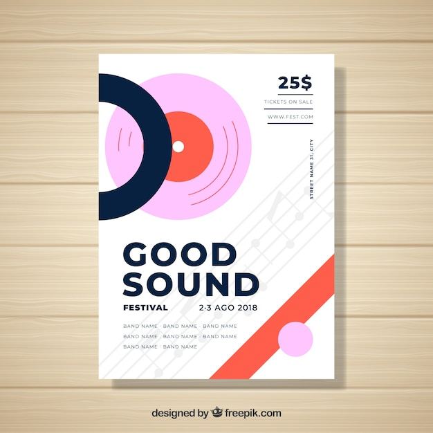 Music festival poster template with abstract style Vector | Free ...