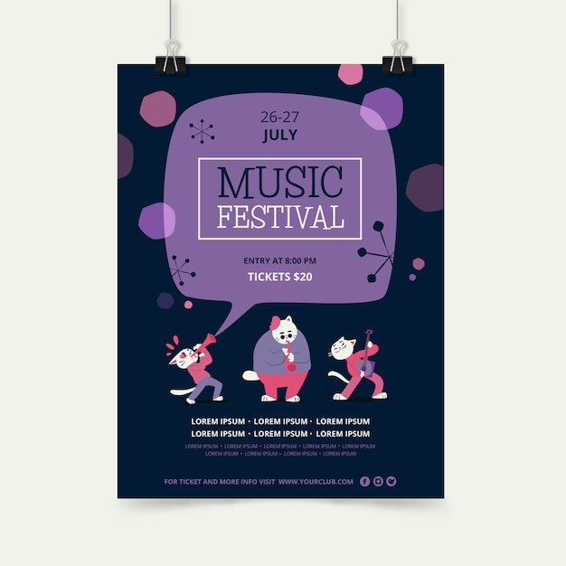 Music festival poster template with animal character band Free Vector