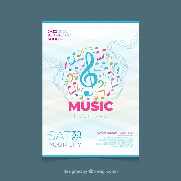 Music festival poster template with colorful notes Free Vector
