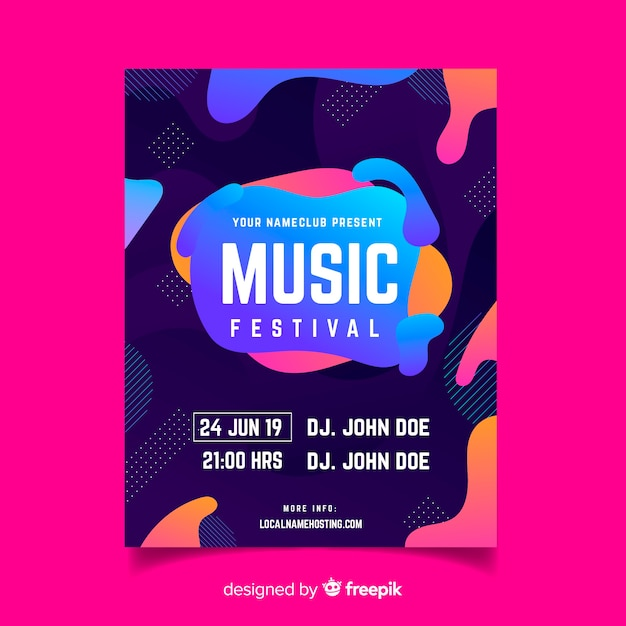 Music festival poster template with liquid effect Vector