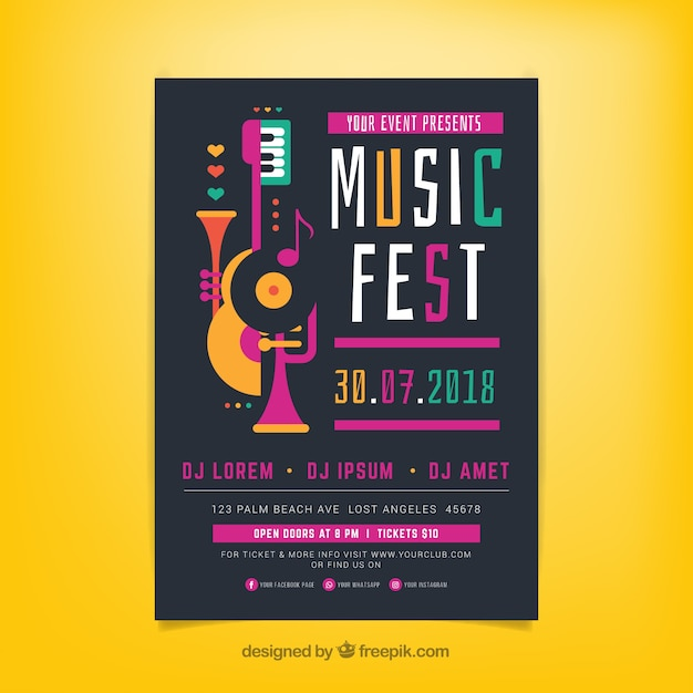 Music festival poster template with music instruments Free Vector
