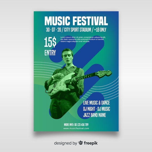 Music festival poster template with photo Free Vector