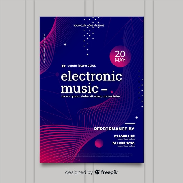 Music festival poster template with waves Free Vector