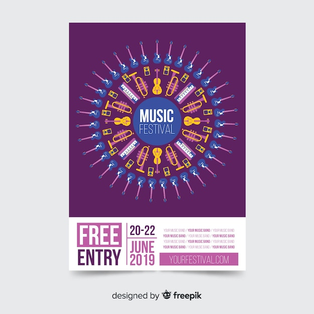 Music festival poster template Free Vector