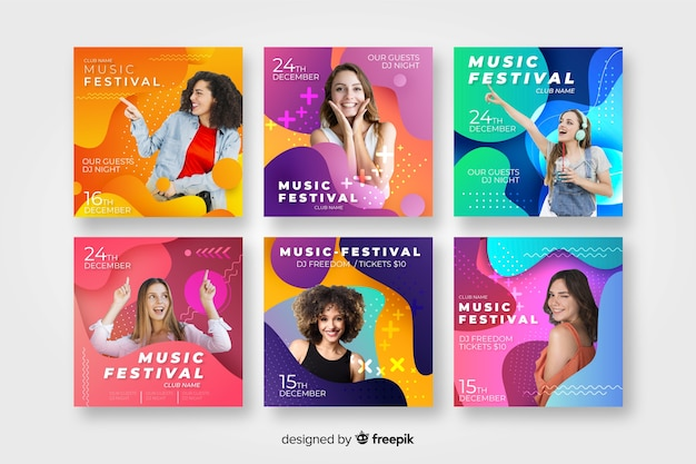 Music festival poster templates with photo Free Vector