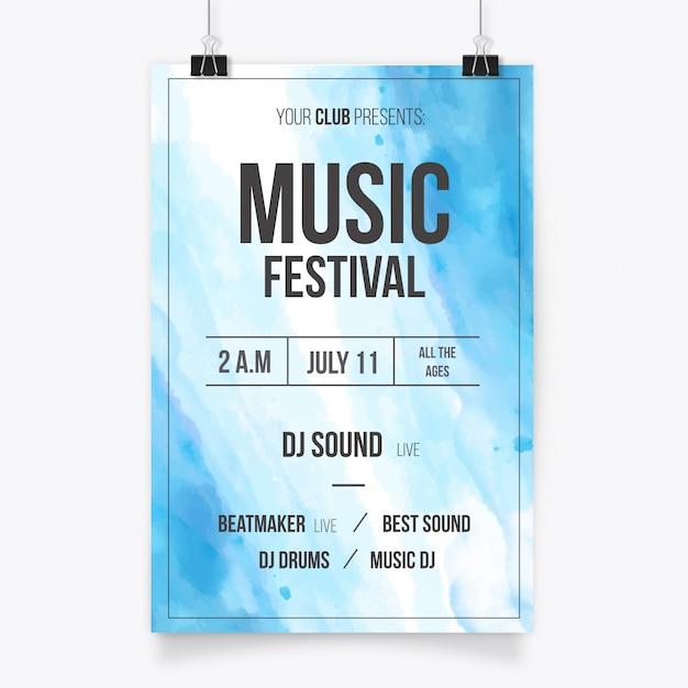 Music festival poster in watercolor design Free Vector