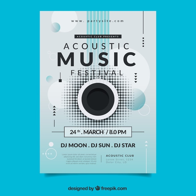 Music festival poster with abstract shapes Free Vector