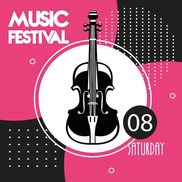 첼로 악기와 음악 축제 포스터. 프리미엄 벡터