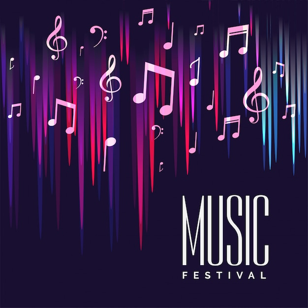 Music festival poster with colorful notes Free Vector