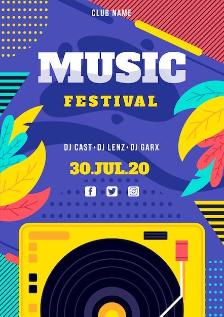 Музыкальный фестиваль постер с диджеем Бесплатные векторы