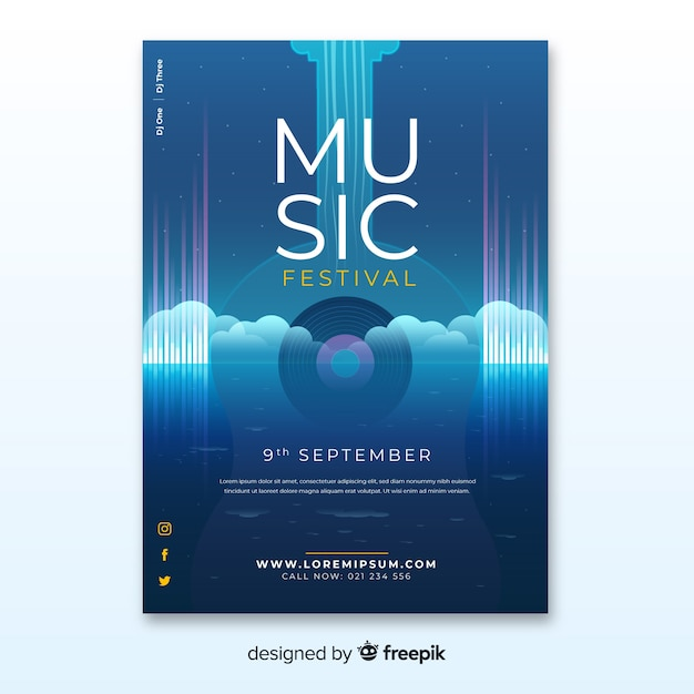 Music festival poster with gradient illustration Free Vector