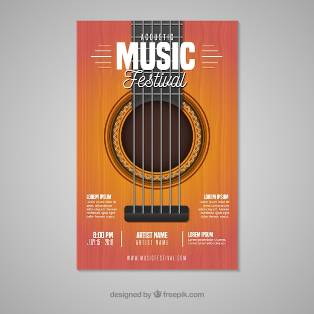 Music festival poster with guitar Free Vector