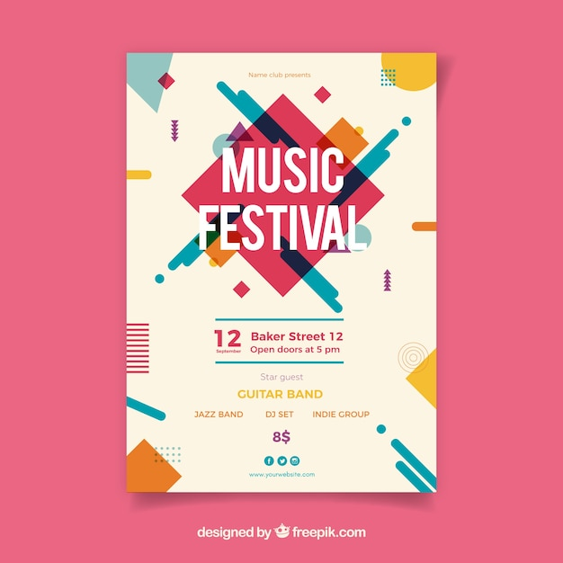 Music festival poster with instruments in flat style Free Vector