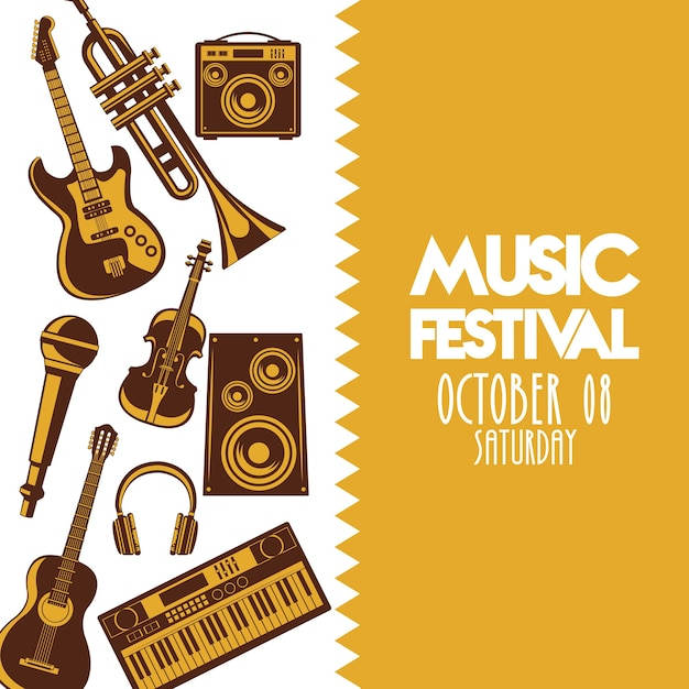Music festival poster with instruments and lettering. Premium Vector