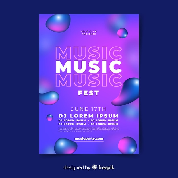 Music festival poster with liquid effect Free Vector