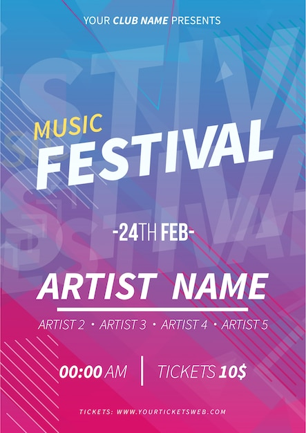 Music festival poster with memphis background Free Vector