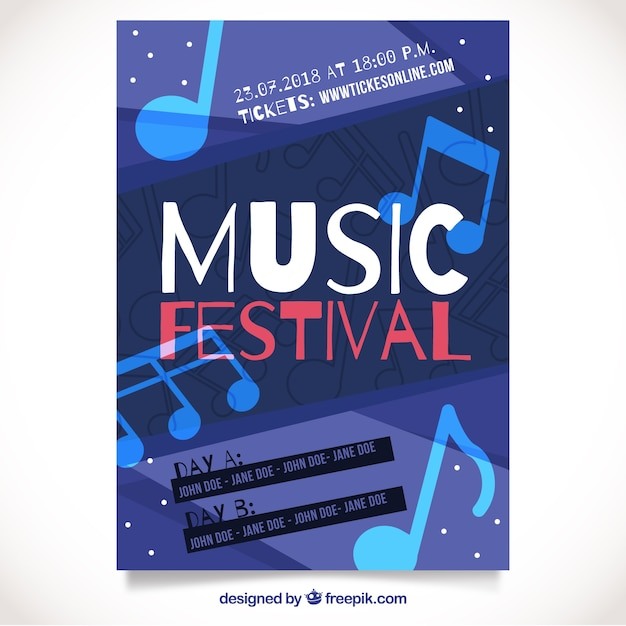 Music festival poster with music notes Free Vector