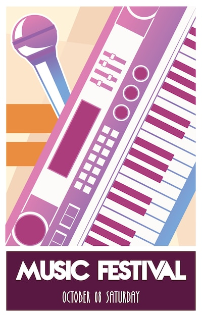 Music festival poster with piano instrument and microphone. Premium Vector