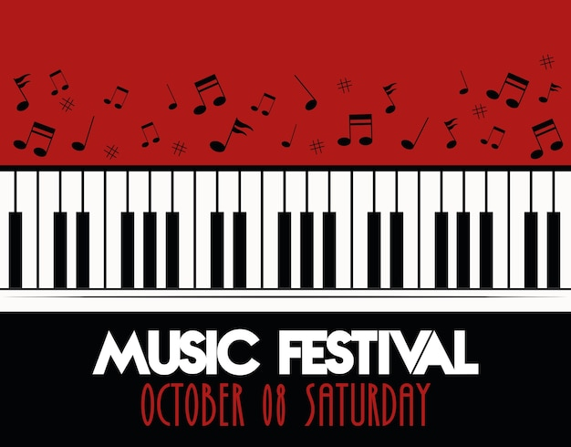 Music festival poster with piano instrument musical and lettering. Premium Vector