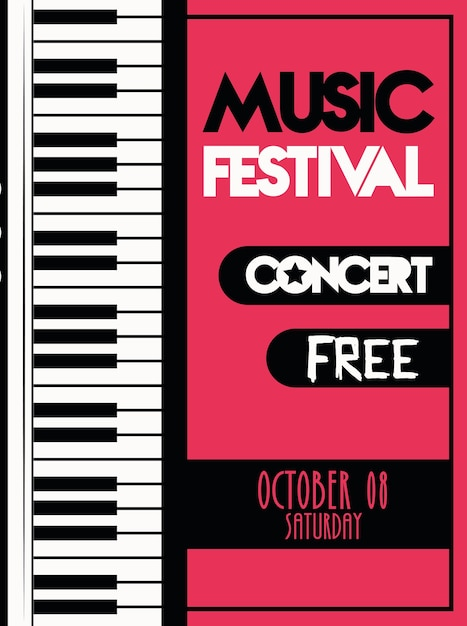 Music festival poster with piano instrument musical. Premium Vector