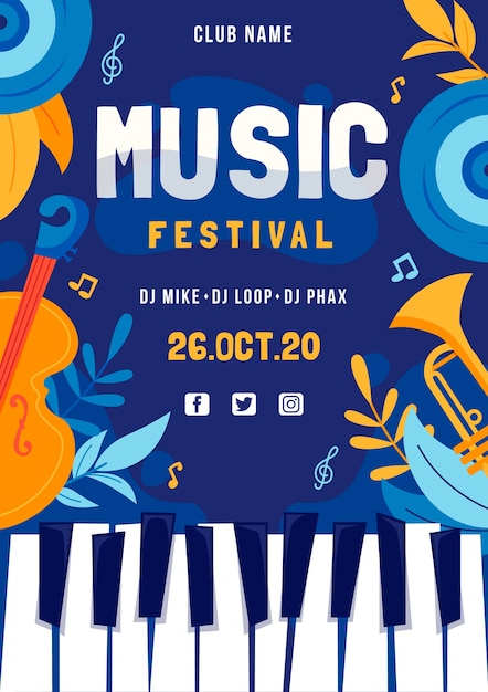Music festival poster with piano keyboard Free Vector