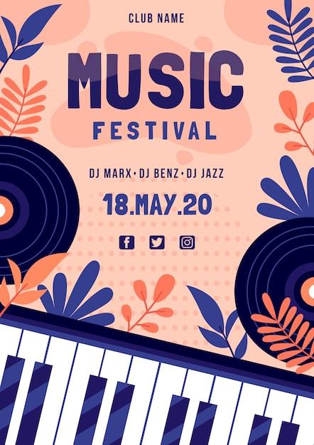 Музыкальный фестиваль постер с фортепианной клавиатурой Бесплатные векторы