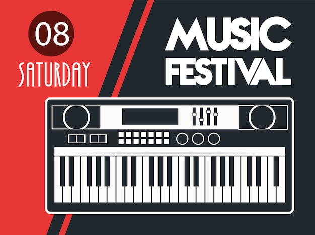 Music festival poster with piano in red background. Premium Vector
