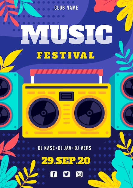 Music festival poster with radio Free Vector