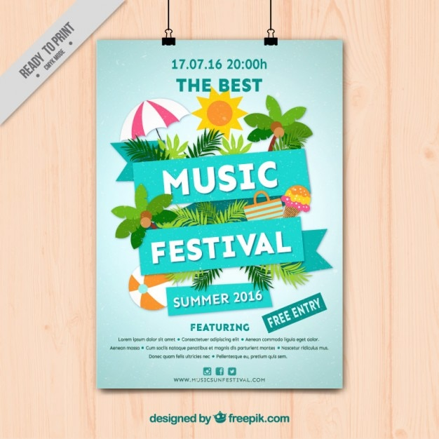 music festival poster with summer elements vector free download
