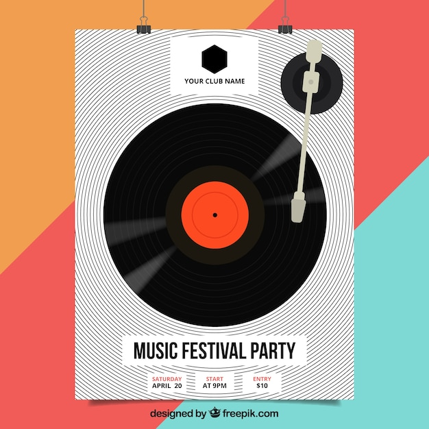 Music festival poster with vinyl Free Vector