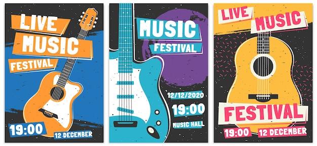 Manifesti del festival musicale Vettore gratuito