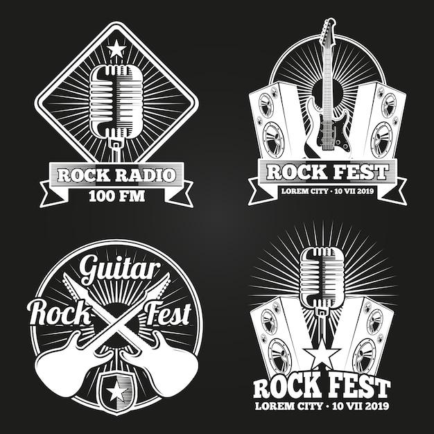 Music festival radio logo set. rock music fest emblems Premium Vector