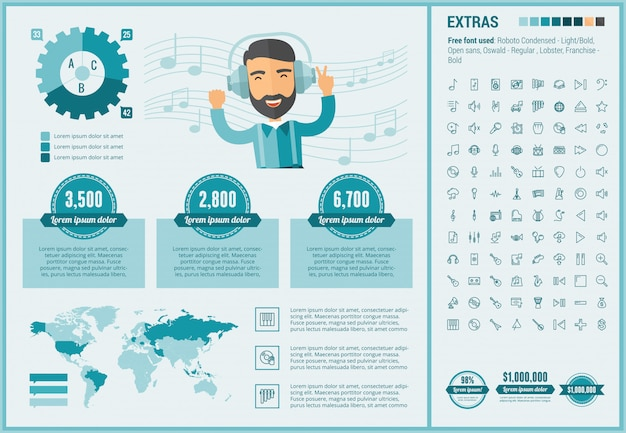 Music flat design infographic template and icons set Premium Vector