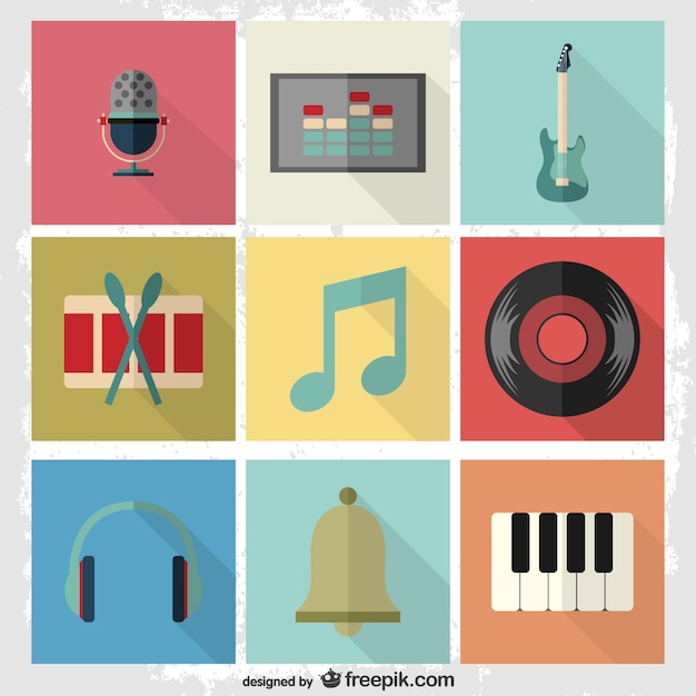 Music flat pictograms set Free Vector