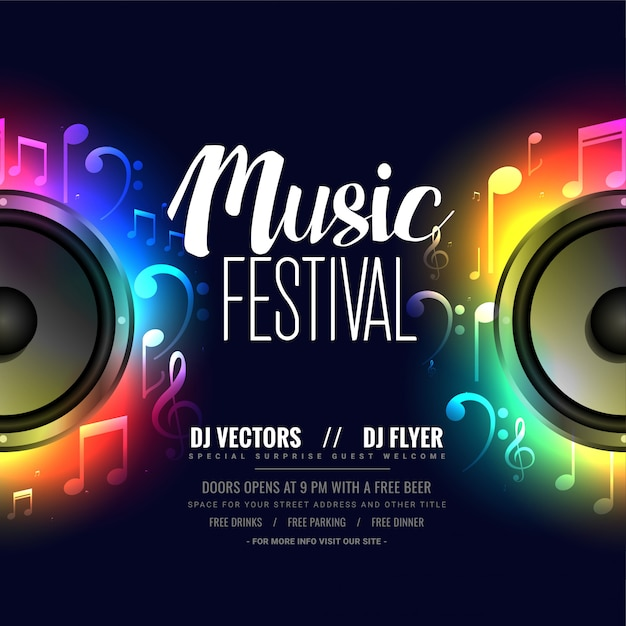 Music flyer poster with colorful speaker Free Vector
