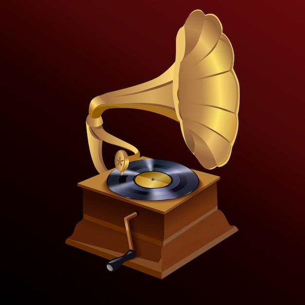 Music gramophone illustration Free Vector