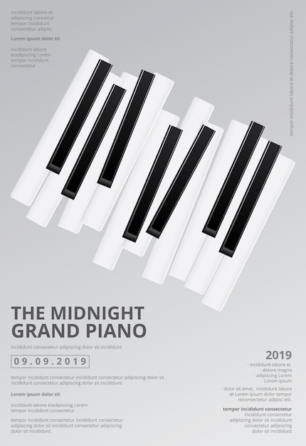 Music grand piano poster background template  illustration Premium Vector