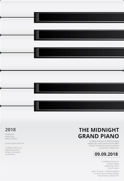 Music grand piano poster background template vector illustration Premium Vector