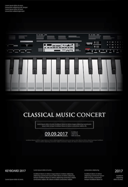 Music grand piano poster background template Premium Vector