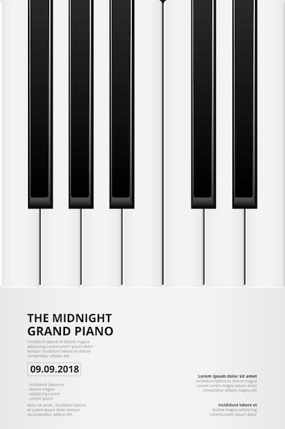 Music grand piano poster background template Premium Vector