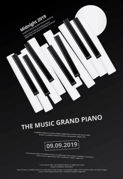 Music grand piano poster background Premium Vector