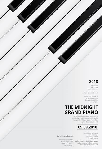 音楽グランドピアノポスターコンサートテンプレート Premiumベクター