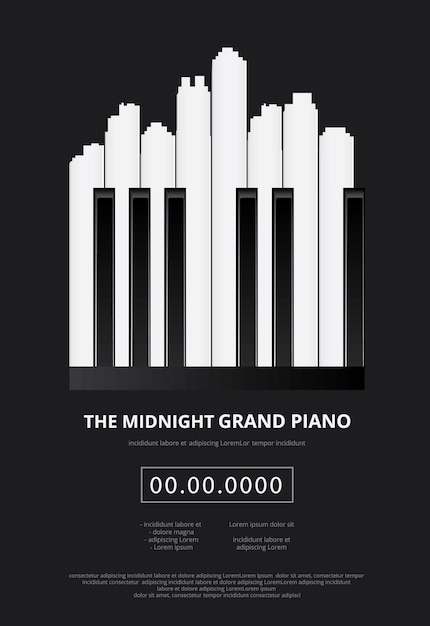 Music grand piano poster illustration Premium Vector