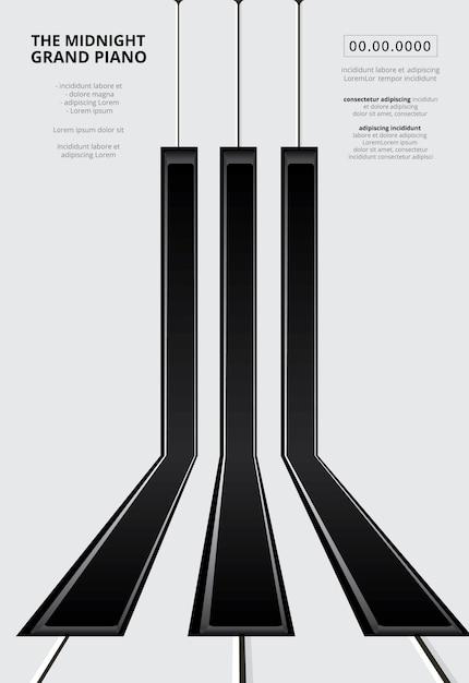 음악 그랜드 피아노 포스터 템플릿 무료 벡터