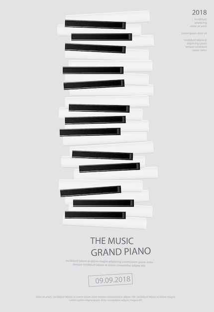 Music grand piano poster Premium Vector