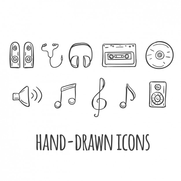 Music hand drawn icons Free Vector