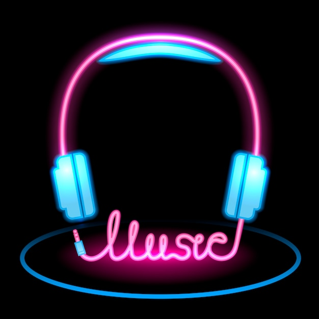 Music headphones neon icon Premium Vector