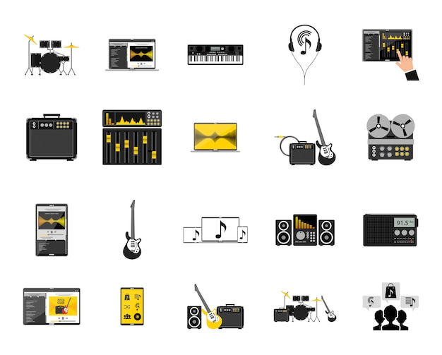 Music icon set Free Vector