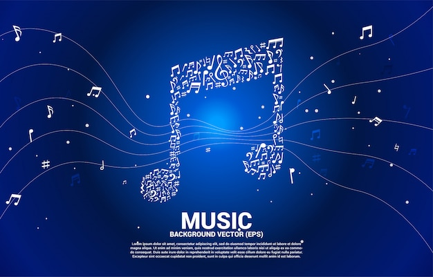 Music icon shaped from key note dancing background Premium Vector